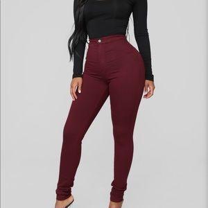 Maroon high waisted skinny jeans